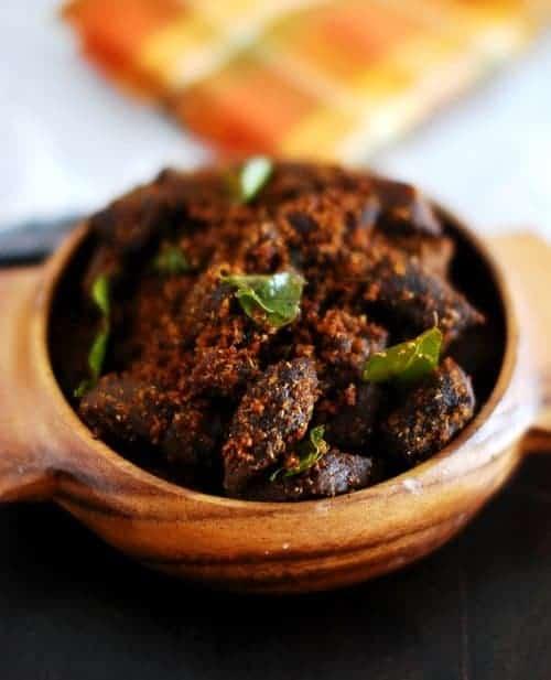 Beef Podi Masala (Beef Fry With Roasted Coconut Masala)