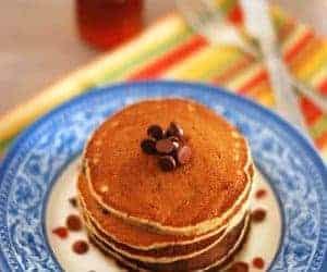 Eggless Banana Oats Chocolate Chip Pancake