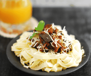 Eggplant and Mushroom Pasta