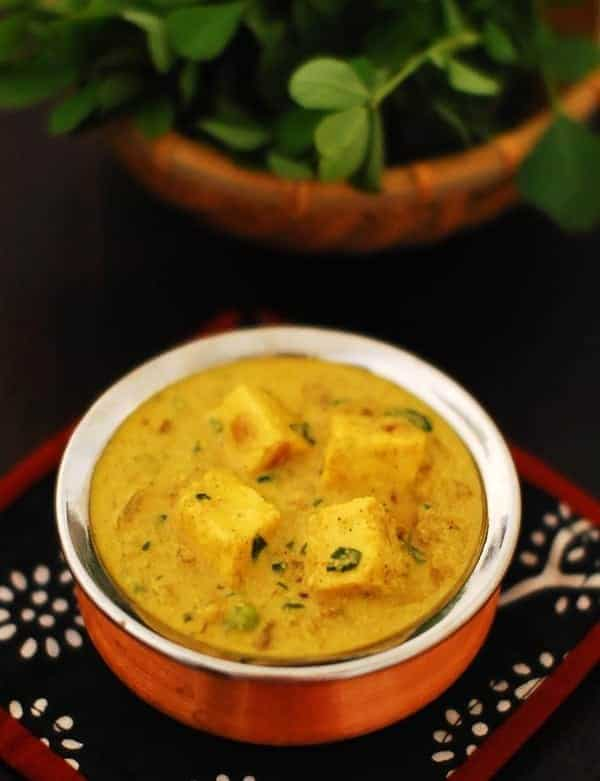 Methi Paneer Mattar in Yogurt Gravy